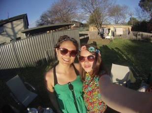 Anae Pinel, (on the right) spotted wearing DENETH flower power in Canberra, Australia!