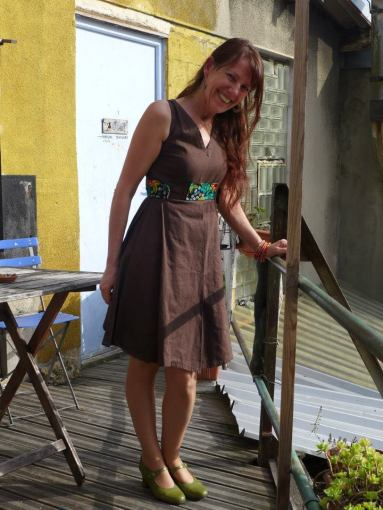 Spotted Madame Helene Coutin in Paris wearing DENETH 1st creation of 2013 collection