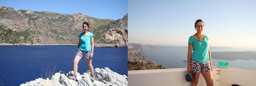 DENETH flower power shorts spotted in Greece wearing by Mme. Berengere MARAIS