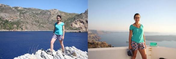 DENETH flower power shorts spotted in Greece wearing by Mme. Berengere MARAIS
