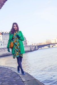 Cheetha classic dress under a bright winter coat looks like you carry sunshine in the winter!