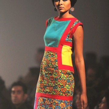 dress inspired by YSL mondiran day dress with cheetha and handloom 2013